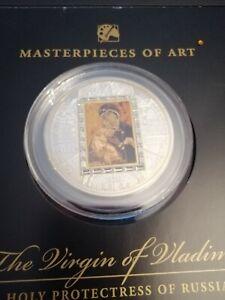 """2013 - Cook 20$ """"Virgin of Vladimir"""" Masterpieces of Art 3 Oz Silver & Gold Coin"""