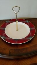 Williams Sonoma Christmas Tartan Plaid Tidbit Serving Tray/Cake Stand