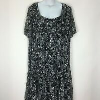 Maggie Barnes Catherines 2X 22 24 Black Long Dress Stretch Floral Lace Overlay