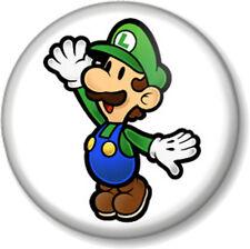 """Super Mario Brothers Luigi 1"""" 25mm Pin Button Badge Bros Green Nintendo Game"""