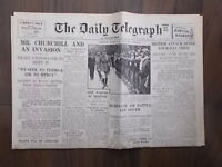 DAILY TELEGRAPH WWII NEWSPAPER JULY 15th 1940 - CHURCHILL READY FOR INVASION