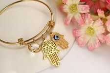 Womens Stainless Steel CZ Crystal Evil Eye Hamsa Bangle Bracelet + Box #BR266