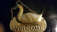 Vintage Brass Duck Welcome Sign, hang or mount to door, made in India