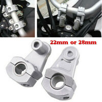1 Pair Silver 7/8'' 22mm 28mm Motorcycle HandleBar Riser Handle Bar Mount Clamps
