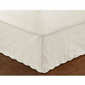 """Greenland Home Fashion Paisley Quilted Ivory Bed Skirt Drop 18"""""""