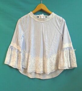 Zara Woman Summer Blouse Size M, Blue and White Striped Lace Cotton Smock Top