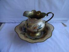More details for vintage brass & enamel cloissonne jug & bowl set floral flowers