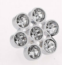 CD16S 33mm Glass Crystal Flower Drawer Furniture Door Cabinet Handle Knob Pull