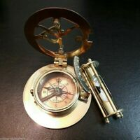 Brass Sundial Compass with Nautical Sand Timer Antique Vintage Gift