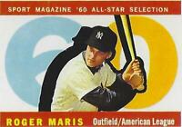 1960 ROGER MARIS TOPPS # 565 YANKEES RP BROKE HR RECORD IN 1961 ALL STAR