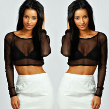 Sexy Women Crop Top Black Mesh Lace Fishnet Long Sleeve Stretch Vest T Shirts