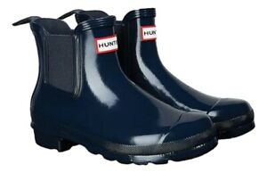 SALE New Ladies Gloss Hunter Chelsea Waterproof Ankle Boots Navy Size  UK 6