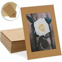 "50 Pack Cardboard Photo Picture Frame Easel with Attached Stand, 4"" x 6"" Kraft"