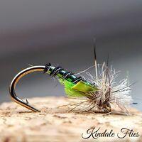 Lightweight Holo Green / Black Buzzers size 12 (Set of 3) Fly Fishing Flies