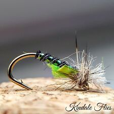 Lightweight Holo Green / Black Buzzers size 16 (Set of 3) Fly Fishing Flies