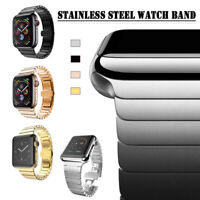 Link Bracelet Clasp Strap Stainless Steel Band For Apple Watch Series 4 3 2 1 US