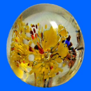 """Floral Art Glass Paperweight Blown Firework Red/White/Yellow/Blue 2 1/4"""" Wide"""