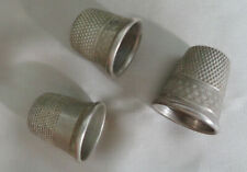 THREE VINTAGE SILVER THIMBLES  ALL ARE NO. 12  SBG INSIDE