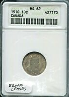 CANADA - FANTASTIC HISTORICAL SILVER 10 CENTS, 1910, KM# 10, ANACS GRADED MS 62