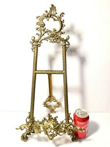 """Vintage Large Gilt Brass Frame Stand Detailed Open Work Foliage Pattern 21"""" Tall"""