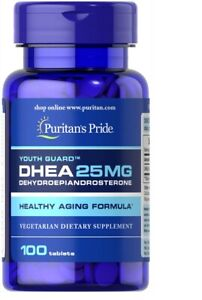 Puritans Pride DHEA25mg -100-200 Tab Stress Lidibo * schnelle Lieferung EXP-2022