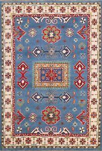 Geometric Vegetable Dye Wool Super Kazak Oriental Area Rug Hand-Knotted 5x7 ft