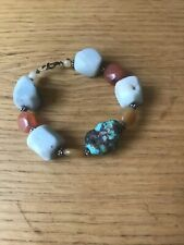 CHUNKY TURQUOISE BRACELET w/ STERLING CLASP - 11 STONES HANDMADE BEAUTIFUL