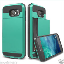 Aqua Galaxy S5 Slide Card Armor Hard Tough Heavy Duty Case Cover for Samsung