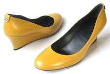 new GUCCI mustard leather GG logo WEDGES shoes 38.5 US 8.5 - very comfortable