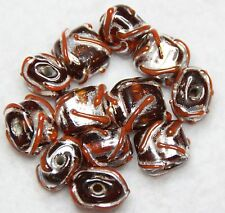 12 INDIAN FANCY LAMPWORK BEADS BURNT ORANGE SQUARE 8 x 8 x 5mm  (BBB530)