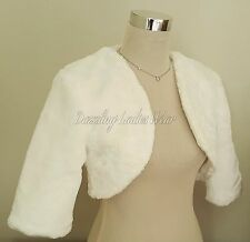 Ivory Faux Fur 3/4 Sleeved Bolero/Jacket/Shrug/Stole/Shawl/Wrap Satin Lined