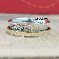 Solid 925 Sterling Silver Spinner Ring Meditation statement Ring Size sr0180