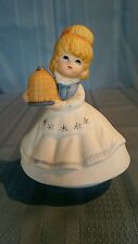 Porcelain Girl with Apron & Covered Dish Music Box
