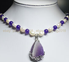 Genuine Natural White Pearl Natural Amethyst 25x35mm Teardrop Pendant Necklaces