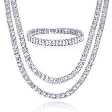 """Men's 22"""" 24"""" Double CZ Silver Plated Tennis Chain Necklace 2 Row Bracelet Set S"""