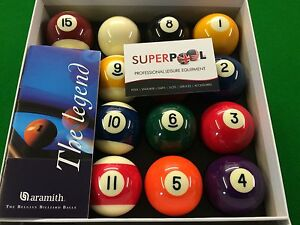 """SUPERPOOL ARAMITH 2"""" Spots and Stripes American Pool Balls with 1""""7/8 Cue Ball"""