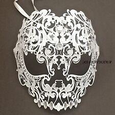 White Evil Skull Light Metal Laser Cut Diamond Venetian Masquerade Mask