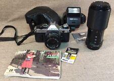 Canon AE-1 Program 35mm SLR Film Camera with FD 50 mm lens+ Macro Lens+ Flash