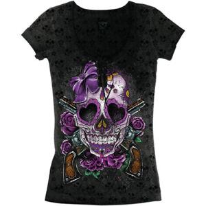 Lethal Threat Women's Day of the Dead Gun T-Shirt (Black / Purple) Choose Size