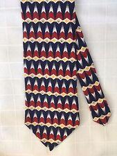 KASPER Handmade Silk Wide Necktie Tie Red Blue Yellow Geometric Triangles EUC