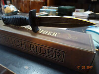 """ROUGH RIDER 6 7/8"""" BOOT KNIFE 440A STAINLESS DOUBLE EDGE BLADE RUBBER HANDLE"""