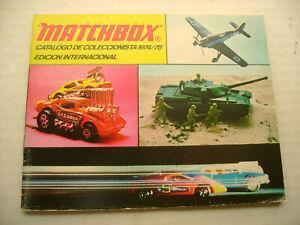 1974/75 MATCHBOX SUPERFAST CATALOGO DE COLECCIONISTA EDICION INTERNACIONAL