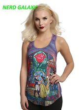Disney Belle Beauty And The Beast STAINED GLASS Sublimation Juniors XL Tank Top