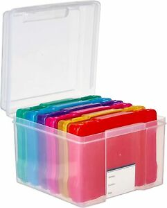 Photo Storage Box Multicoloured Container Photo Organiser Pictures Arts Crafts