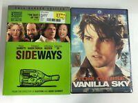 Lot of 2 DVD Movies NEW VANILLA SKY Widescreen & SIDEWAYS Full Screen Edition