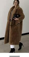 ZARA CAMEL LONG SOFT FAUX FUR COAT WITH LAPELS SIZE L BNWT