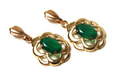 9ct Gold Green Agate Celtic Drop earrings Made in UK Gift Boxed