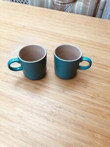 Le Creuset Espresso Mugs Cups Turquoise X2