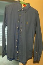 NEW Polo Ralph Lauren Classic Fit Dress Shirt Blue Size Large Yellow Pony