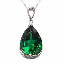925 Sterling Silver 8.5 ct Emerald Micro inlays Green Necklaces Pendant P9639